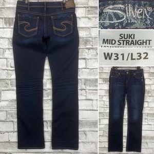 Silver Suki Mid Straight 31 x 32 Stretch Jeans